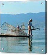 Boatmen On Inle Lake  Acrylic Print