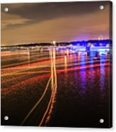 Boats Light Trails On Lake Wylie After 4th Of July Fireworks Acrylic Print
