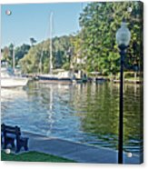 Boats On The Kalamazoo River In Saugatuck, Michigan Acrylic Print