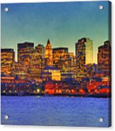 Boston Skyline Sunset Acrylic Print by Joann Vitali
