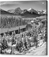Bow Valley River View Black And White Acrylic Print
