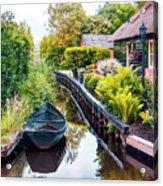 Bridge And River In Old Dutch Village Acrylic Print
