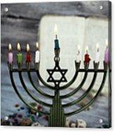 Brightly Glowing Hanukkah Menorah - Shallow Depth Of Field Acrylic Print