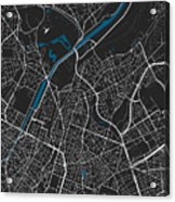 Brussels City Map Black Colour Acrylic Print
