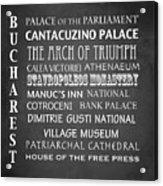 Bucharest Famous Landmarks Acrylic Print