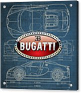Bugatti 3 D Badge Over Bugatti Veyron Grand Sport Blueprint  Acrylic Print