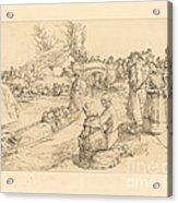 Burial In The Vendeen Marsh (un Enterrement Dans Le Marais Vendeen) Acrylic Print