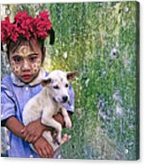 Burmese Girl With Puppy Acrylic Print