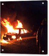 Burning Car And Fireman Acrylic Print