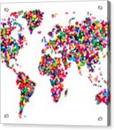 Butterflies Map Of The World Acrylic Print