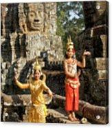 Cambodian Dancers At Angkor Thom Acrylic Print