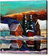 Canadian Art Laurentian Landscape Quebec Winter Scene Acrylic Print