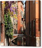 Canal In Venice With Flowers  Acrylic Print