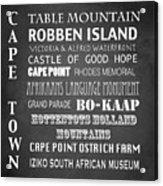 Cape Town Famous Landmarks Acrylic Print