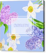 Card With Spring Flowers Acrylic Print