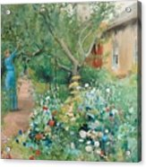 Carl Larsson, Garden Scene From Marstrand On The West Coast Of Sweden. Acrylic Print