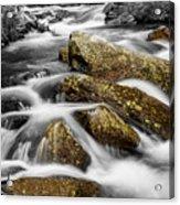 Cascading Water And Rocky Mountain Rocks Acrylic Print
