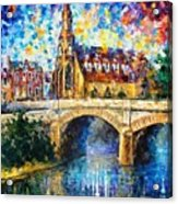 Castle By The River - Palette Knife Oil Painting On Canvas By Leonid Afremov Acrylic Print