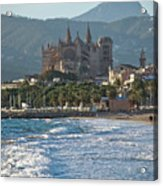 Cathedral And City Beach With People  Acrylic Print