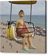 Caveman Above Beach Santa Cruz Boardwalk Acrylic Print