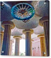 Ceiling Boss And Columns, Park Guell, Barcelona Acrylic Print