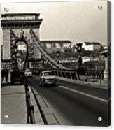Chain Bridge Of Budapest In 1990 Acrylic Print
