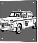 Checkered Taxi Cab Illustrastion Acrylic Print