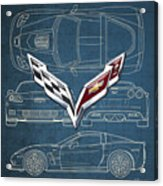 Chevrolet Corvette 3 D Badge over Corvette C 6 Z R 1 Blueprint Acrylic Print