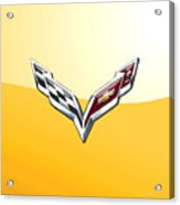 Chevrolet Corvette 3d Badge On Yellow Acrylic Print