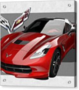 Chevrolet Corvette  C 7  Stingray With 3 D Badge  Acrylic Print