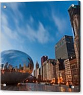 Chicago Skyline And Bean At Sunrise Acrylic Print by Sven Brogren