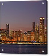Chicago Skyline At Dusk Panorama Acrylic Print