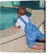 Child In A Denim Suit Sits Acrylic Print