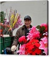 Chinese Bicycle Flower Vendor On Street Shanghai China Acrylic Print