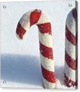 Christmas Candy Canes On Real Snow Acrylic Print