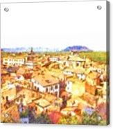 Cityscape With Mountain Acrylic Print