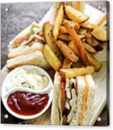 Classic Club Sandwich With Fries On Wooden Board Acrylic Print