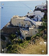 Cliff Perched Houses In The Town Of Oia On The Greek Island Of Santorini Greece Acrylic Print