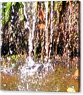 Close Up Of Waterfall Flowing Over Rocks  Acrylic Print
