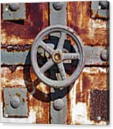 Close Up View Of An Unusual Door That Is Part Of An Old Rundown Building In Katakolon Greece Acrylic Print