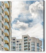 Clouds And Buildings Acrylic Print