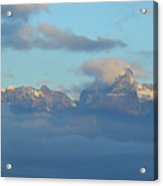 Cloudy Sky Surrounding The Dolomite Mountains In Italy  Acrylic Print