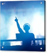 Club Dj Playing And Mixing Music For People Acrylic Print