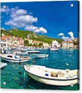 Coastal Town Of Hvar Waterfront Panorama Acrylic Print