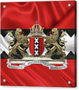 Coat Of Arms Of Amsterdam Over Flag Of Amsterdam Acrylic Print