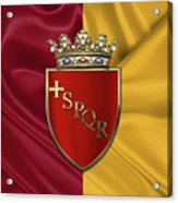 Coat Of Arms Of Rome Over Flag Of Rome Acrylic Print