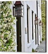 Colonial Home Exterior With Vertical Plants And Old Lanterns Displayed On The Side Of Home Acrylic Print