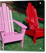 colorful Adirondack chairs Acrylic Print