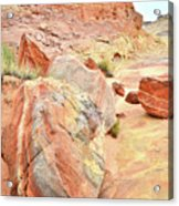 Colorful Boulders In Wash 3 In Valley Of Fire Acrylic Print