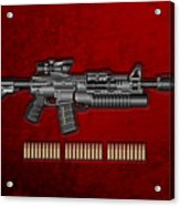 Colt  M 4 A 1  S O P M O D Carbine With 5.56 N A T O Rounds On Red Velvet  Acrylic Print by Serge Averbukh
